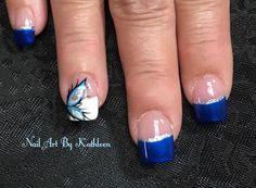 "20 Likes, 2 Comments - Nail Art By Kathleen (@nailartbykathleen) on Instagram: ""Blue French #nails #nailart #bluenails #frenchnails #freehand #freehandnailart #ignails #instanails…"""