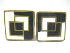 Stegemaille Manschettenknöpfe Vintage 50er Schibensky ? enamel cufflinks . zz N4