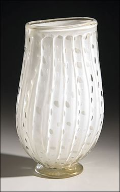 white and gold fluted Venetian glass vase with bubbles