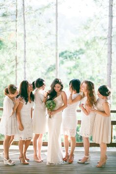 Bohemian bride and bridesmaids in white // A Sky Full of Stars: Lee and Yuyu's Wedding at Enderong Resort Brides And Bridesmaids, Bridesmaid Dresses, Wedding Dresses, Wedding Entourage, Sky Full Of Stars, Pearl And Lace, Bohemian Bride, Lace Sheath Dress, Fairy Lights