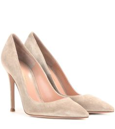 Gianvito 105 taupe suede pumps