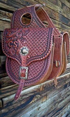 Custom Made To Order Western Leather Floral Tooled Geometric Stamped Saddlebags ~ Saddle Bags, Horse Tack by NeelyLeatherwork, $515.00 USD