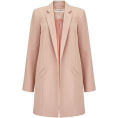 Miss Selfridge Blush Duster Coat ($105) ❤ liked on Polyvore featuring outerwear, coats, pale pink, miss selfridge coats, pale pink coat, miss selfridge, lightweight coats et duster coat