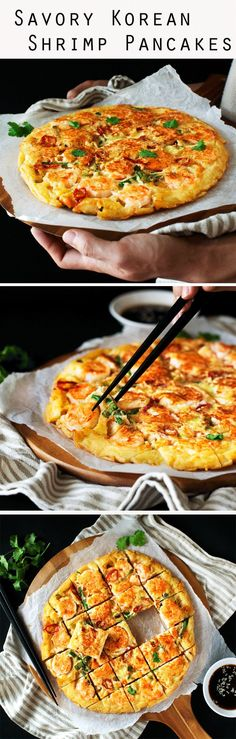 Savory Korean Shrimp Pancake - Crispy on the outside & lightly chewy on the inside. So delicious it's great for any meals or snack.