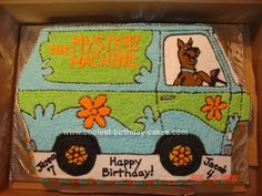 Homemade Scooby Doo Mystery Machine: My kids have the same birthday and they both were obsessed with Scooby Doo.  Happy that they chose a joint theme for once, I decided to make one large
