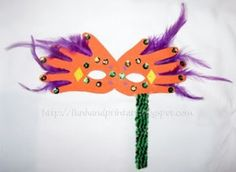 Mardi gras mask fron hand cutouts. You can use a big pop sickle stick for the wand.