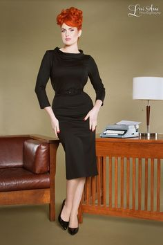 Rolled collar ponte dress style