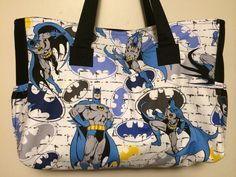 The ultimate Batman fan diaper bag black lining with by pinkcharms, $65.00