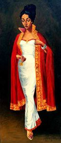 The highly honored Maitre Artist Afewerk Tekle in prestigious painting graceful woman. Iconic image of Ehiopian woman.