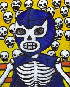 LUCHA LIBRE Blue Demon 8x10 art print Day of by ArtByLupeFlores, $12.99
