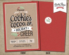 Items similar to Christmas Party Invitation // Holiday Cookie Exchange // Hot Cocoa Party // Christmas Cookie Swap // Printable, Digital File on Etsy Cookie Exchange Party, Christmas Cookie Exchange, Cocoa Party, Cookie Swap, Christmas Party Invitations, Digital Invitations, Holiday Cookies, Messages, Retro Style