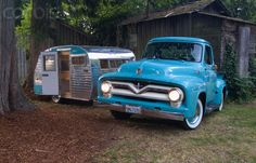 Vintage Ford Pickup and 1964 Serro Scotty Trailer