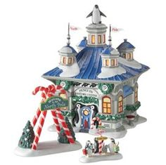 """Department 56: Products - """"North Pole Penguin Visitors' Center"""" - View Lighted Buildings"""