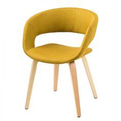 Gestoffeerde stoel Volda - geweven stof - Goudgeel