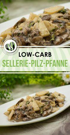 Die Sellerie-Pilz-Pfanne ist ein einfaches kohlenhydratarmes Gericht. Es ist außerdem glutenfrei.