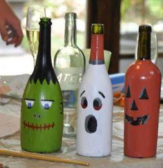 Wine Bottle Art - Halloween Theme  - Frankenstein, Ghost and Pumpkin.