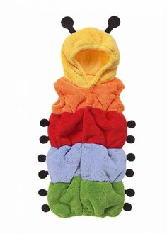 Caterpillar Baby Outfit | Cute Novelty Baby Clothes, Rainbow Caterpillar Baby Outfit, Hooded with antenea to hood