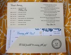 red blue yellow swirls cruise ticket wedding invitations