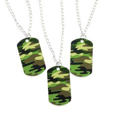 Fun Express Lot of 12 Metal Camouflage Dog Tag Necklaces Army Party Favors Camouflage Birthday Party, Army Birthday Parties, Army's Birthday, Camo Party, Nerf Party, Birthday Ideas, Paintball Birthday, Birthday Stuff, Boy Party Favors