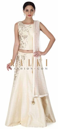 Buy this Cream lehenga adorn in kundan embroidery only on Kalki
