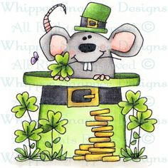 O' Mouse - Whippersnapper stamps Saint Patricks Day Art, St Patricks Day Cards, St Patrick's Day Crafts, Rock Crafts, St. Patrick's Day Diy, St Pats, Spring Art, Free Graphics, Leprechaun