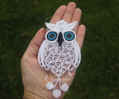 Owl always love you - Paper Quilling Owl in a gift box ,Paper Quilled White…