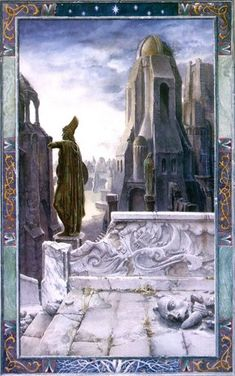 """An illustration for Book IV, Chapter V, """"The Window on the West,"""" of The Lord of the Rings: The Two Towers. Hobbit, Alan Lee, Medieval, John Howe, Alchemy Art, The Two Towers, Principles Of Art, Collaborative Art, Jrr Tolkien"""