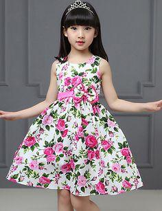 35b3145dd Vestido Chica de Casual/Diario Floral Algodón Sin Mangas Primavera Verano