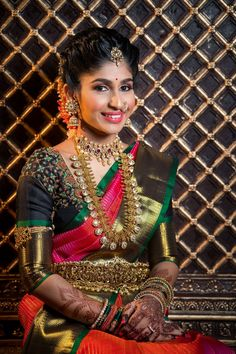 pretty gold coin jewellery for a South Indian bride. See more on Indian Bridal Sarees, Indian Bridal Fashion, Indian Wedding Jewelry, South Indian Jewellery, Bridal Jewelry, Bridal Sarees South Indian, Indian Jewellery Design, Jewellery Designs, Fashion Jewellery