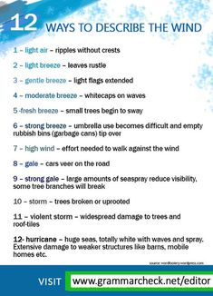 English Grammar - How is the wind today? Here are ways to describe the motion of the wind: