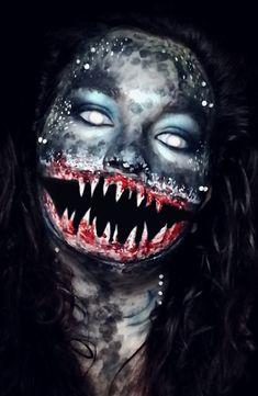 Shark Makeup, Halloween Makeup, Halloween Costumes, Creative Makeup, Costume Makeup, Makeup Tips, Mermaid, Sharks, Animals