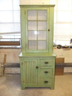 New From Farmington Antiques  Made From Old Pieces.Antique Bead Board U0026  Glass Kitchen Jelly Cabinet Butlers Pantry Repurposed Wood In Antiques,  Furniture, ...