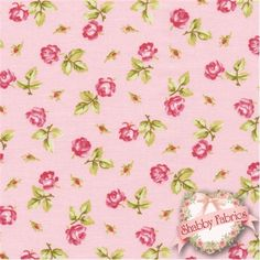 "Hill Farm 30555-20 by Brenda Riddle for Lecien Fabrics: Hill Farm is a lovely collection by Brenda Riddle that was inspired by yesteryear.  Lecien Fabrics.  100% cotton, 44""/45"" wide.  This fabric features tossed roses on a pink background."