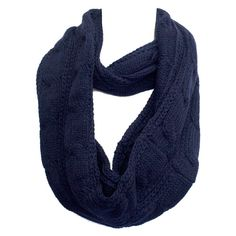 Women's Kate Marie Fashion Twist Knit Infinity Scarf in Navy ($14) ❤ liked on Polyvore featuring tops, blue, navy top, twist top, blue top, navy blue top and blue knit top
