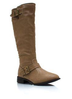 buckle-strap-riding-boot BLACK CHESTNUT TAUPE - GoJane.com