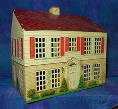 Vintage 1948 Dolls House Dollhouse Playsteel Moderne Red Shutters Tin Metal | eBay