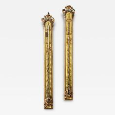 A Pair of French Louis XVI Painted Stick Barometers