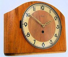 Stunning ART DECO BAUHAUS KIENZLE Wooden Mantel Or Wall CLOCK vtg GERMAN MOELLER