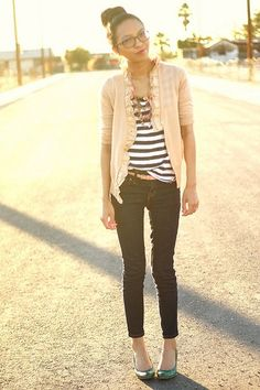 Stripped Tank, Loose Ruffled Cardigan And Cropped Skinny Jeans