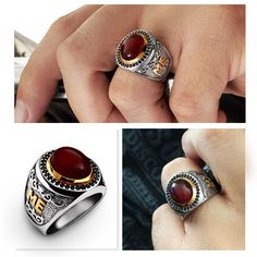 HEAVY Men's Ring SOLID 925 STERLING SILVER Natural Red Agate Antique Victorian #Unbranded #Statement