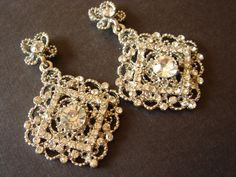 Ellia Vintage Inspired Art Deco Lace Swarovski Crystal Diamond Matching Earrings · Romantic Brides · Online Store Powered by Storenvy