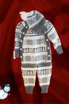 9-14 mo. Fair Isle Jacquard Knitted Unisex BABY SET : OVERALL with Double Layers Ear Flap Hat . I want this!!!!!!