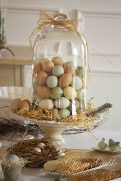 Natural eggs under cloche-always a great look! StoneGable: SPRING BRIDAL SHOWER