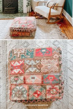 Handmade upcycled Moroccan floor cushion (also known as a 'pouf') made from vintage rugs. Floor cushions add a bohemian flair to any space, and can be used as floor seating, pet beds, ottomans, and more! Moroccan Floor Cushions, Classic Living Room, Floor Seating, Bohemian Living, Extra Seating, Pet Beds, Ottomans, Vintage Rugs, Living Room Decor