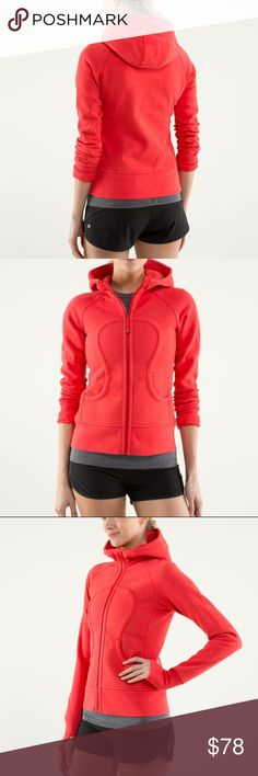 Lululemon Scuba Hoodie Size 10 Lululemon Scuba Hoodie Size 10  Please note: style color is Love Red, it's more red  orange family imo. No fading or stretching. lululemon athletica Tops Sweatshirts & Hoodies