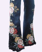 Online shop for art to wear clothing: Art Jeans with colorful bead rose embroidery embellished with black lace and sequins. Sequin Jeans, Lace Jeans, Studded Jeans, Embellished Jeans, Denim Fashion, Boho Fashion, Old Jeans Recycle, Flare Jeans Outfit, Denim Ideas