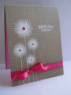 Birthday card with white embossing powder on kraft paper and pink inside card