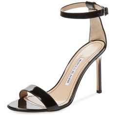 Manolo Blahnik Women's Chaos 105 Ankle-Wrap Sandal - Black - Size 41 ($580) ❤ liked on Polyvore featuring shoes, sandals, black, black high heel shoes, ankle strap high heel sandals, leather shoes, heeled sandals and black heel sandals