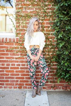 floral print pants, grey hair