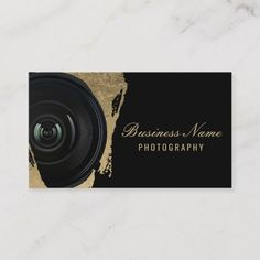 Shop Photographer Modern Black & Gold Photography Business Card created by cardfactory. Personalize it with photos & text or purchase as is! Black Business Card, Elegant Business Cards, Custom Business Cards, Business Card Size, Business Card Design, Business Ideas, Photographer Business Cards, Photography Business, Visiting Card Design